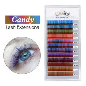 Details About Lashview Mixed Color Eyelash Extensions 07 C Candy Lashes Individual Diy Color