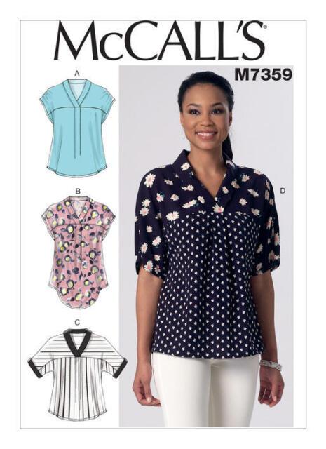 Mccalls Sewing Pattern M7359 Misses V Neck Dolman Sleeve Tops Ebay