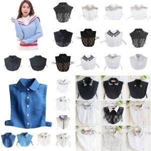 UK Womens False Collar Fake Half Shirt Blouse Vintage Detachable Lace Collar Bib