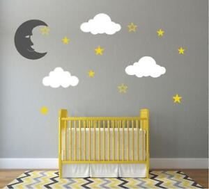 Image Is Loading Clouds Wall Stickers Stars Moon Fluffy Big Decals