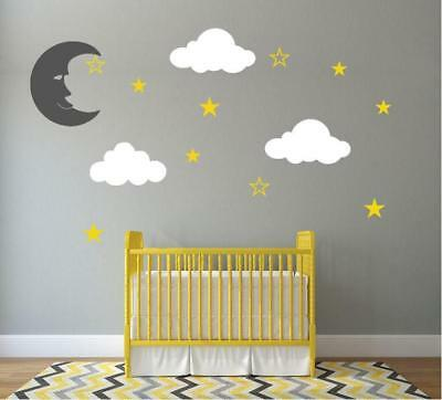 clouds wall stickers stars moon fluffy big decals baby nursery