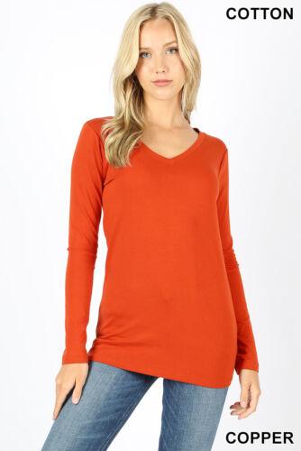 Womens T Shirt V Neck Long Sleeve Zenana Cotton Stretch Top S//M//L//XL