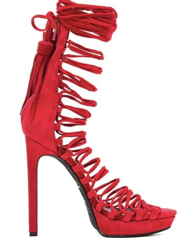 Jeffrey Campbell NWB SEXY Revolve  Red Gladiator Lace Up Heels Pumps SZ 8.5  350