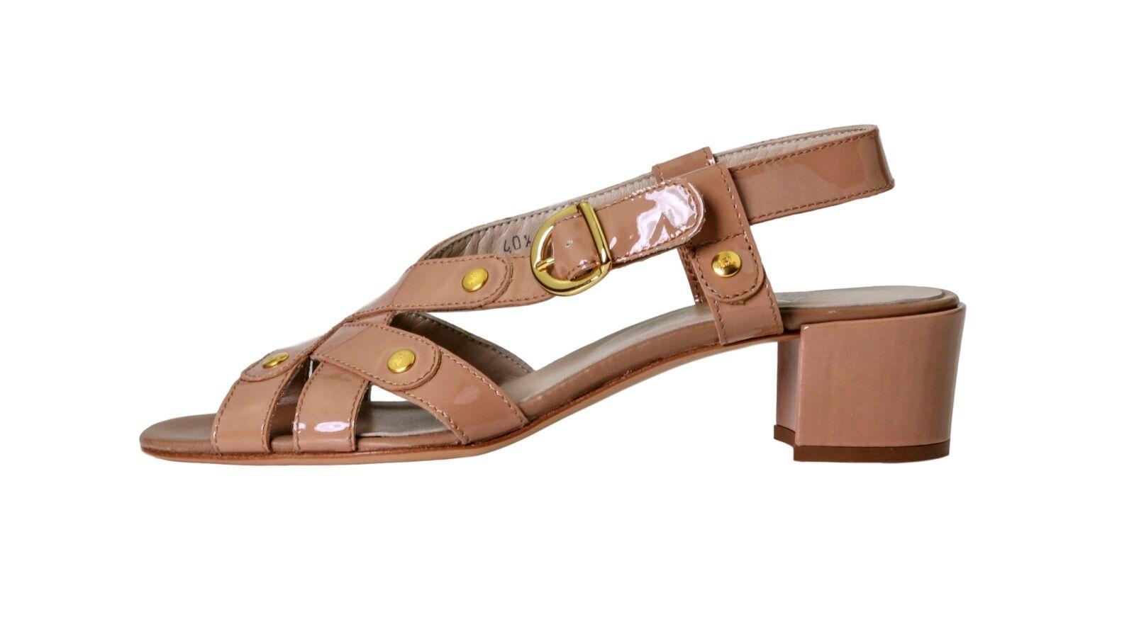 Attilio Giusti Leombruni 7438 Nude Patent Leather Sandals EU Sz 40.5