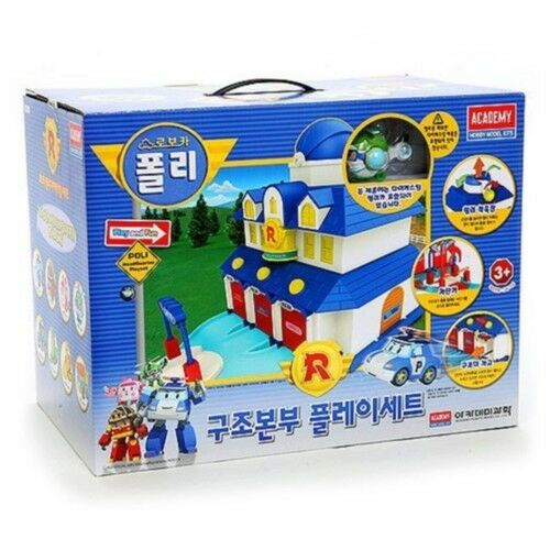 NYA Robobil Poli Rescue Center Station Spela Set med Jin Figur