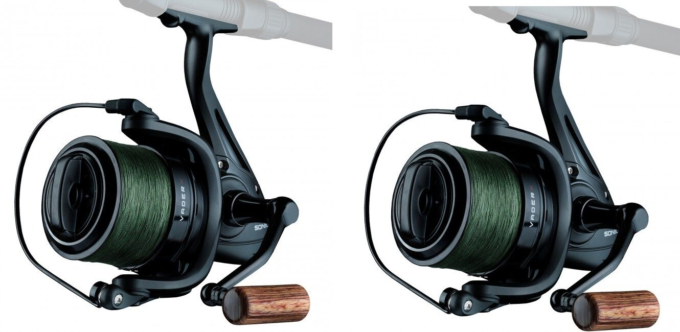 2 X Sonik Vader X Spod or Marker Reels With 200m 30lb Braid NEW Carp Fishing
