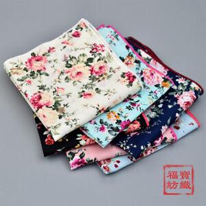 100-Cotton-Flower-Handkerchiefs-Pocket-Square-Hanky-kerchiefs-Men-Women-24-24CM