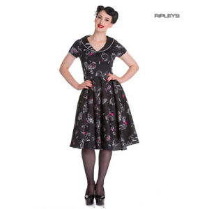 Hell-Bunny-50s-Dress-Pin-Up-Rockabilly-Black-Pink-KALONICE-Gothic-Bats-All-Sizes