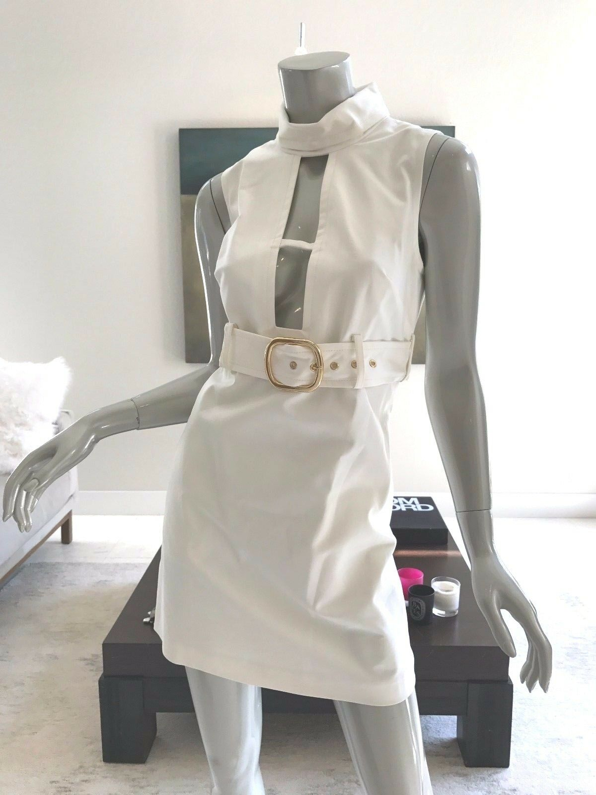 328 NWT MILLY RUNWAY IVORY WHITE CUTOUT FRONT SLEEVELESS DRESS SIZE 2 SMALL
