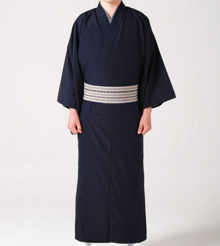 Japanese Men/'s Traditional TSUMUGI Awase Kimono Polyester Navy from JAPAN