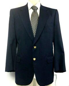 Vintage-Burberrys-Size-46R-Wool-Blazer-Navy-Blue-w-Gold-Buttons-Burberry