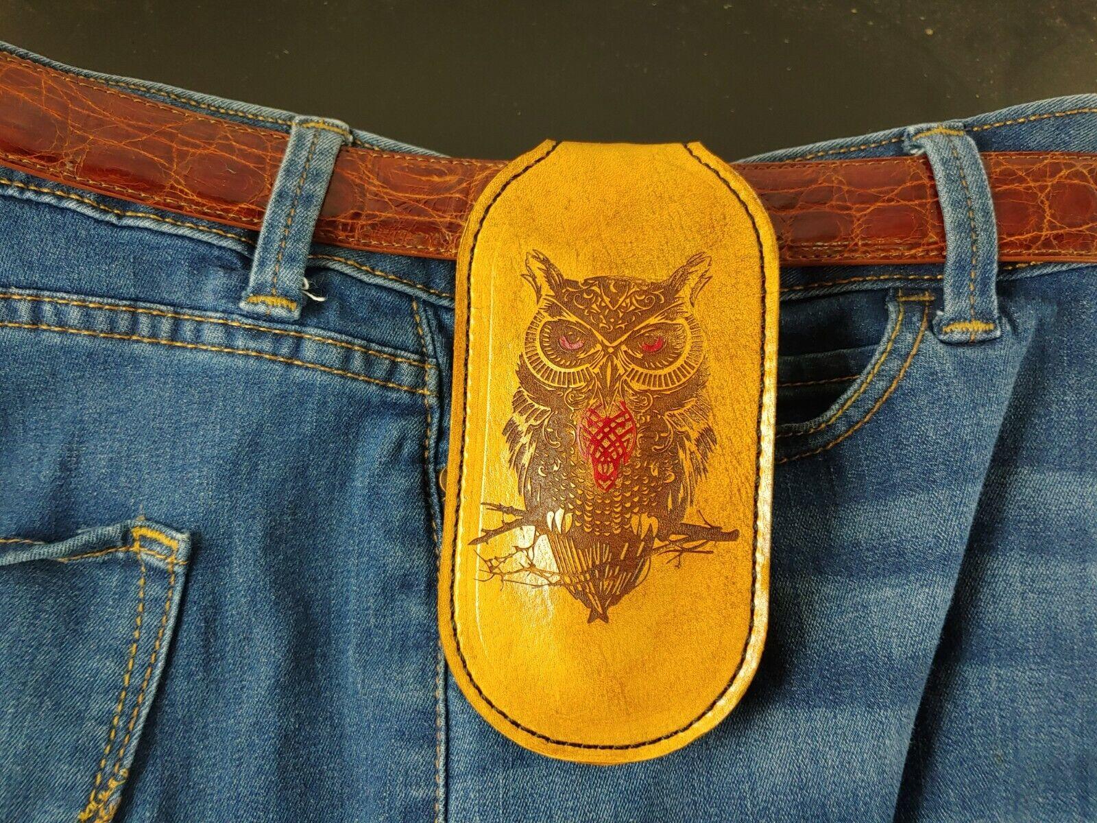 OWL BROWN COIN purse SLAP JACK Tactical leather EDC WALLET sap MOLLE BELT POUCH