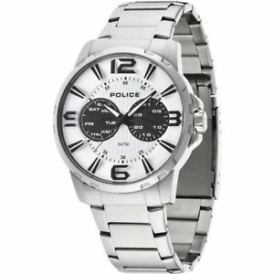Details About Police Visionary White Dial Stainless Steel Bracelet Mens Watch 14100js 01m