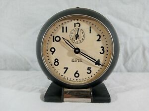 Vintage-30-039-s-40-039-s-Westclox-Baby-Ben-Wind-Up-Metal-Alarm-Clock-3-5-034