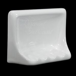 "GLOSS WHITE PORCELAIN SOAP DISH FOR TUB/SHOWER, TILE-IN, 6.5"" x 5"" x 2.5"", NEW!"