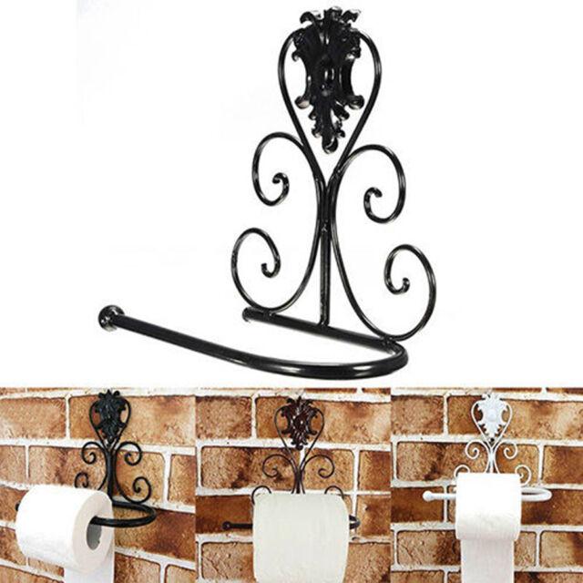 New Vintage Iron Toilet Paper Towel Roll Holder Bathroom Wall Mount Rack