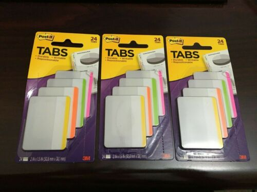 Orange Post-it Durable Flat File Tabs Yellow 3 PACKS OF 24 Lime Pink