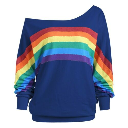 Womens Casual Rainbow Print Long Sleeve Pullover Blouse Loose Shirts Plus Size
