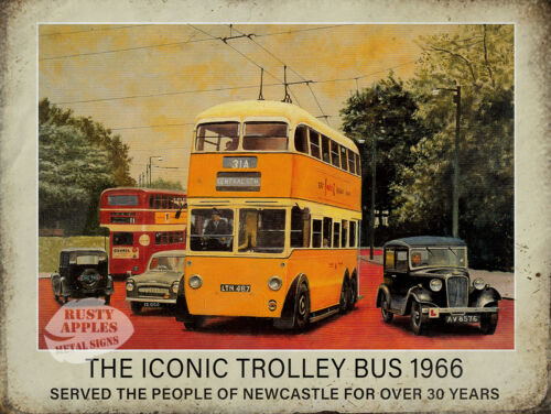HOME DECOR MANCAVE GREAT GIFT NEWCASTLE THE ICONIC 1966 TROLLEY BUS METAL SIGN