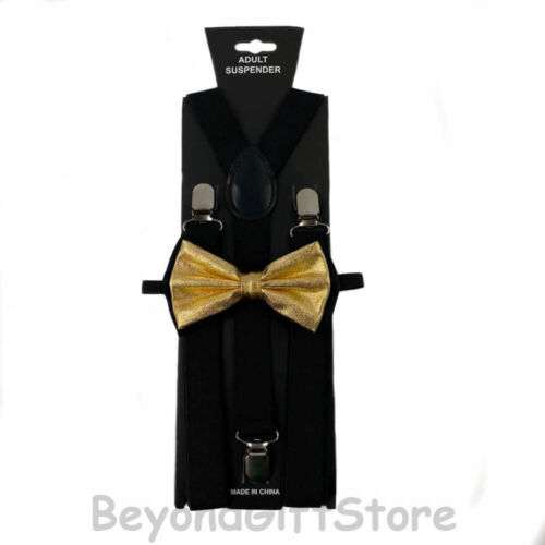 Suspender and Bow Tie Adults Men Black /& Metallic Gold Formal Wear Accessories