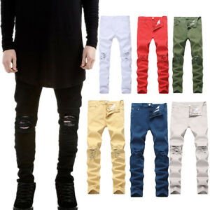 Men-039-s-Fashion-Slim-Stretch-Denim-Jeans-Destroyed-Ripped-Skinny-Pants-Trousers