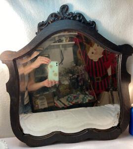 Vintage Antique Victorian bois encadrée Beveled Cottage Laver Support Miroir seulement
