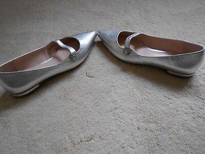 Ex M*S Insolia® Flat Black Pointed Embelished Ballet Shoe Pump 3-6