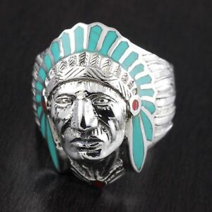 Mens-925-Sterling-Silver-Big-Apatche-Head-Chief-Light-Turqiouse-Ring-25-Wide