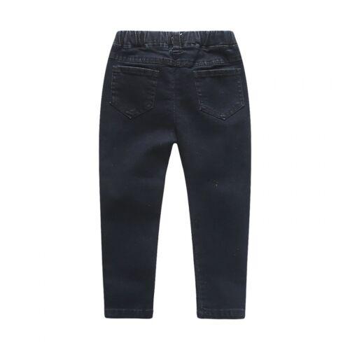 Children Skinny Ripped Jeans Boys Girls Holes Design Kids Elastic Waist Pants