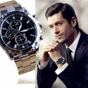 NEU-Herren-Luxus-Laessig-Armbanduhr-Sport-Quarz-Analog-Armbanduhren-Edelstahl