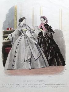 LES-MODES-PARISIENNE-PARIS-FASHION-plate-866-antique-hand-coloured-print-1859