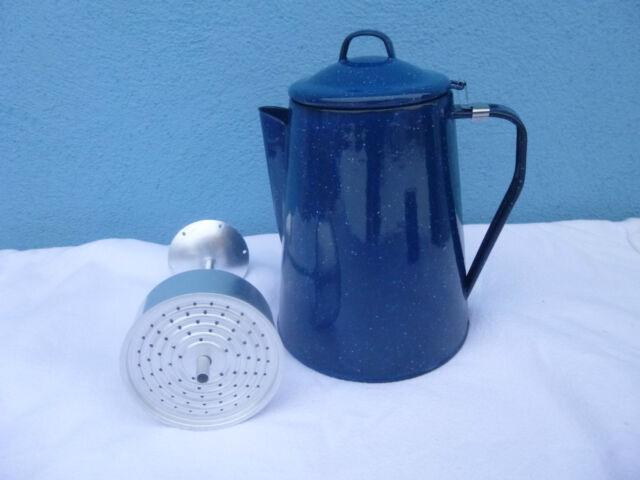 Kaffeekanne Emaille Kaffee Kanne Western Blau 2 Liter m. Percolator Camping