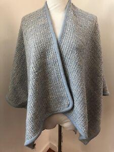787a420be hinterveld women's sahara poncho sweater one size blue & white wool ...