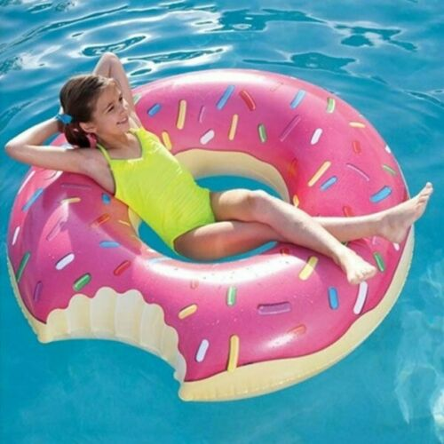 90cm NOVELTY DONUT SWIMMING INFLATABLE RUBBER SWIM RING HOLIDAY POOL FUN KIDS