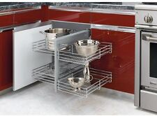 2-Tier Pull-Out Blind Corner Cabinet Wire Basket Organizer Kitchen Chrome New