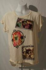 NEW Womens Soft T Shirt Size Large Ladies Top Cat Kitten Off White Blouse High L