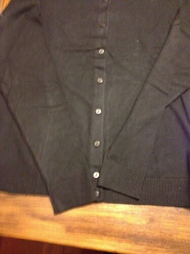 Sweater CHARTER CLUB Womens Knit Long Sleeves Button Front Cardigan Black  NWT