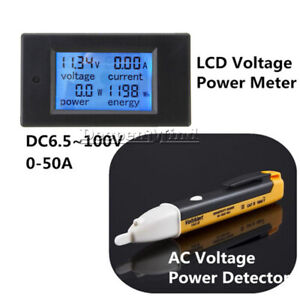 DC6-5-100V-20A-50A-LCD-Voltage-Watt-Current-Kwh-Power-Energy-Combo-Meter-Ammeter