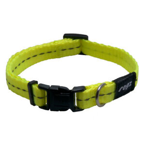 Rogz Dog Collar Side Release Utility - NiteLife Small 8in-12in Dayglo Yellow