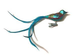 Christbaumschmuck Baumschmuck Glas Vogel Mit Federn Turkis Bird
