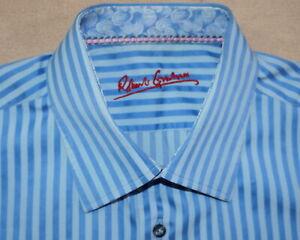 ROBERT-GRAHAM-Dress-Shirt-Men-16-5-34-35-Blue-Stripe-Long-Sleeve