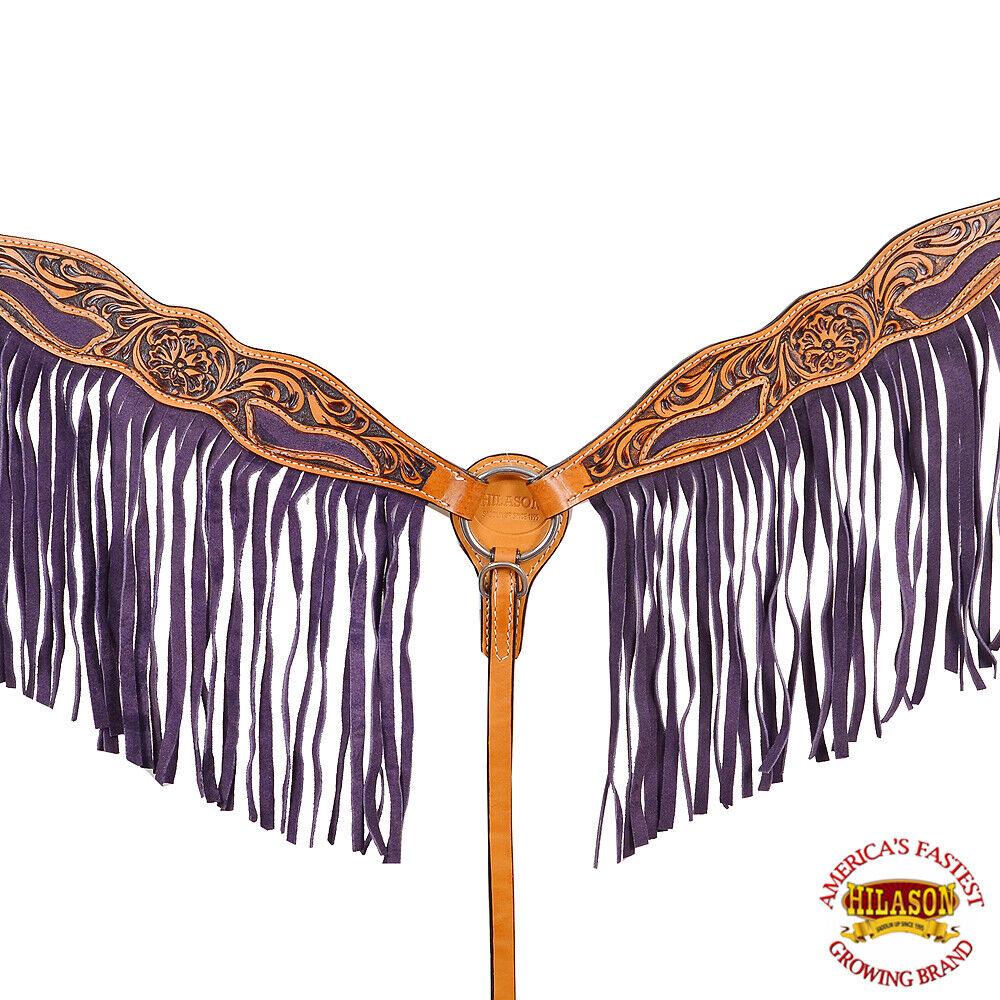 URBC Hilason Western American Leather Horse Breast Collar Floral Tan viola