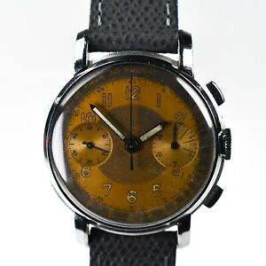 Eterna 1940's Pulsometer Chronograph Valjoux 22 Copper Gray Dial Rare 38mm Steel