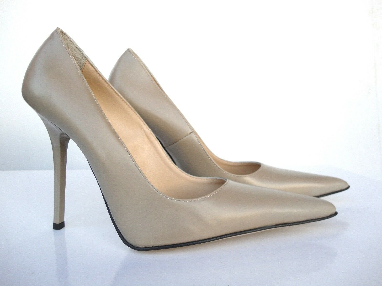 GIOHEL ITALY DECOLTE HIGH HEELS POINTY TOE PUMPS SCHUHE LEATHER DECOLTE ITALY BEIGE NUDE 39 e0d6d1