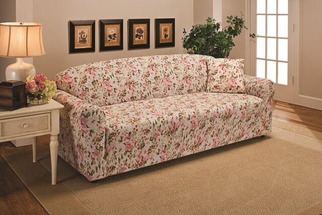 Madison Jer Sofa Fl Stretch Jersey Slipcover Pink