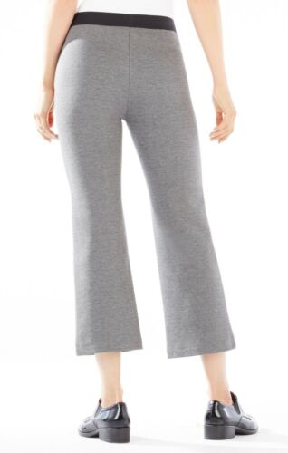 NEW BCBG Max Azria Carlton Cropped Flared Pull On Pant Gray Spandex Blend $138