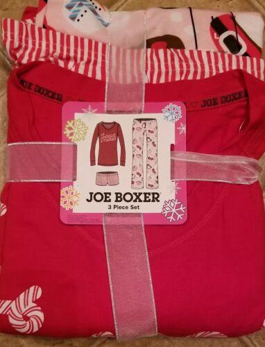 JOE BOXER 3 piece Pajama set Sleepwear large new Cocoa Candy Canes SWEET DREAMS