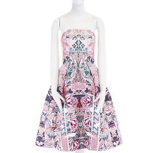 MARY-KATRANTZOU-pink-graphic-letter-floral-digital-print-strapless-dress-UK10-M