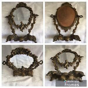 Ancien Miroir De Table Pivotant Sur Pied En Bronze Doré Style Louis Xv
