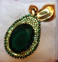 In Original Box Signed Ivana Huge Green Rhinestones Pear 3 3 /4 Pin Brooch